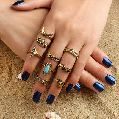 Stacking Ring Set 9pcs Boho Turquoise Finger above Knuckle Ring Band Midi Rings