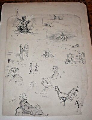 Antique (Victorian Dated 95) Small Interesting Hand Drawn Illustrations