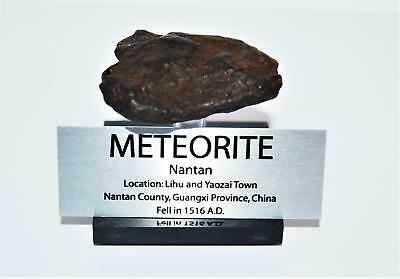 NANTAN IRON METEORITE 37.9 grams w/ Acrylic Display Stand, Label, COA #14001 5o