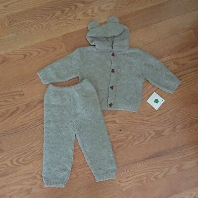 BELLINI 12m TEDDY BEAR L/S hooded sweater pants Italy BOUTIQUE 2pc set NWT