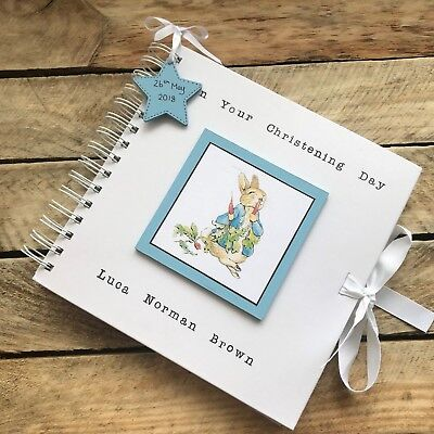 Handmade Personalised Peter Rabbit Christening Guest Book