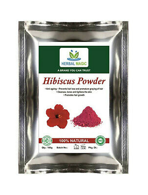 100% PURE & NATURAL PESTICIDE FREE 100g ORG PINK HIBISCUS POWDER HAIR LOSS SKIN