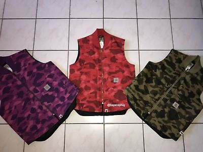 83e2d351ebd2 BAPE X CARHARTT Purple Camo Vest Size Large Rare Japan A bathing ape ...
