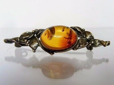 Antique Imperial Russian 84 Silver & Natural Baltic Amber Brooch /Pin