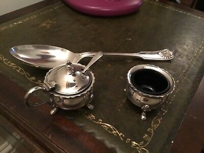 Vintage Mappin and Webb salt and mustard pot with spoon. And table spoon