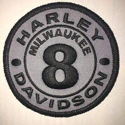 Harley Davidson Milwaukee 8 Patch! Black On Gray Made In Usa!