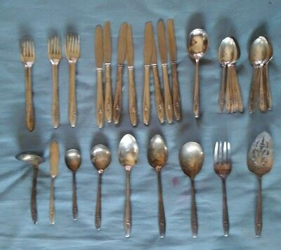 International Silver 40 piece silverware set silver tulip