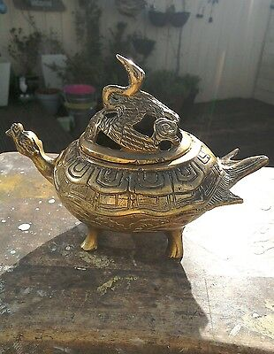 Antique Chinese Bronze Censer In The Shape Of A Turtle And Swan Lid