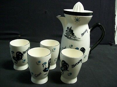 Vintage Napco Juicer Pitcher Black & White w/ 4 Juice Cups Good Morning Rooster