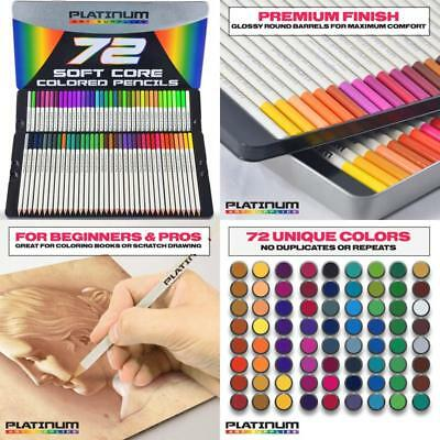 Pack Of 72 Colored Pencils Platinum Soft Core with Tin Case And Free Shipping