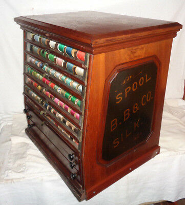 Antique Bilding Bros. & Co. Spool & Silk Store Wood Display Cabinet Weight 70 lb