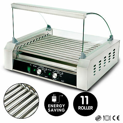 11 Roller 30 Hot Dog Grill Stainless Steel Commercial Cooker Machine w/Cover CE