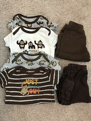 Carters 0-3 Monkey bodysuits and pants lot unisex boys girls brown