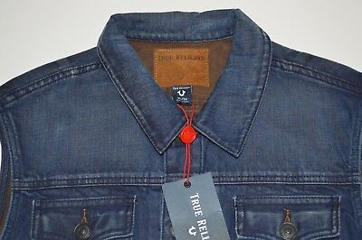 New Men's True Religion Dylan Renegade Blue Mariner Denim Vest Size XL MSRP $249