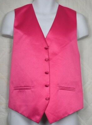 Cardi Collection Mens Pink Satin Tuxedo Vest Size Small Full Adjustable Back