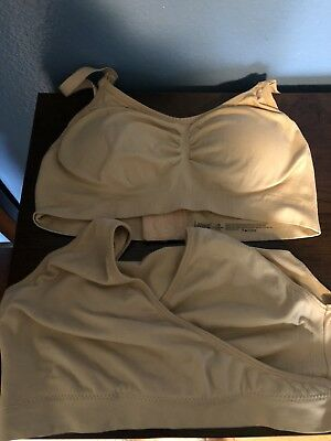 Lot of 2 Lamaze Maternity Nursing Bras Nude Size L