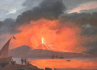 Original 19th Century Neapolitan Gouache Painting Pompeii VESUVIUS Eruption