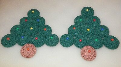 """Set of Two Handmade Christmas Tree Bottle Caps Trivets - Each Are About 5.5"""" H"""