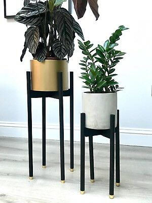 Retro Wooden Indoor Plant Pot Stand Black Gold Walnut Modern Planter