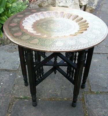 Antique Anglo/indian Fully Carved  Folding Side Table With  Brass Tray