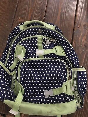 Pottery Barn Kids Girls Blue Green Polka Dot Backpack School Bag