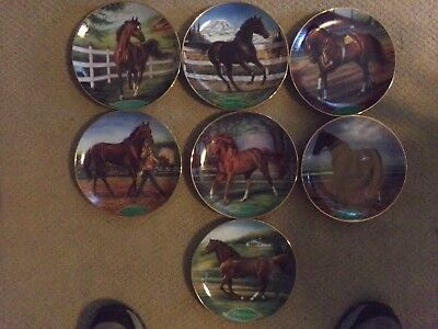 Danbury Mint Collector Horse Plates Thoroughbreds-set of 7