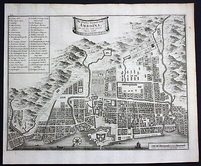 1726 Ambon city island Maluku islands Moluccas Indonesia map Valentijn 95734