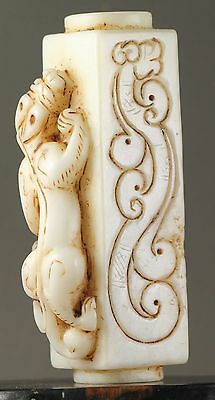 China old natural hetian jade hand-carved statue jade dragon cong yuzong NO.Y672