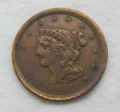 1851 U.S. Half Cent * Braided Hair * High Grade * A Nice Type For Book
