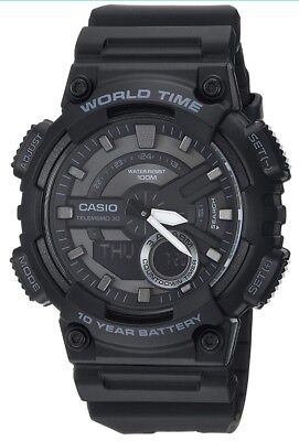 NIB **Casio Men's Quartz World Time Ana-Digi Black Resin Band 52mm Watch AEQ110W