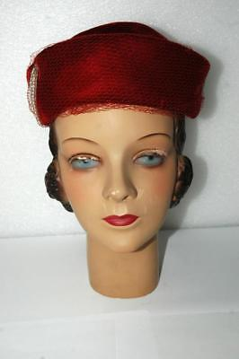 Vintage Mid-Century Woman Female Plaster Mannequin Head & Suffield Hat