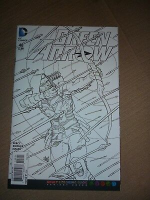 Green Arrow #48 Hamner Variant Adult Coloring Book Dc Comics Mar 2016 Nm