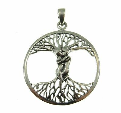 Solid 925 Sterling Silver Entwined Lovers/Couple Tree of Life Yggdrasil Pendant