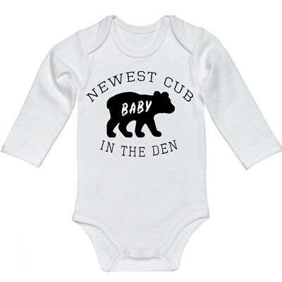 Snappy Suits Cute Newest Cub in The Den Baby Bear One Piece Romper Clothes