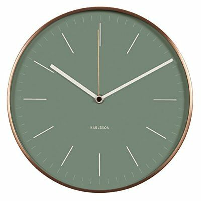 minimal Jungle  Wall Clock With Copper Case, Green