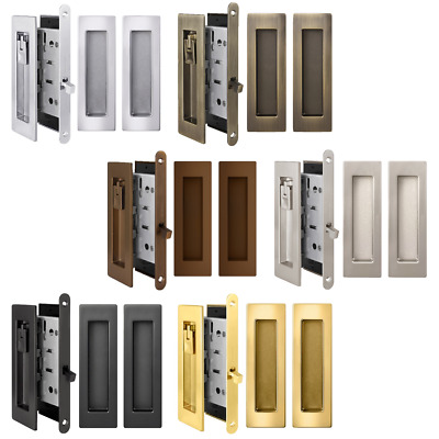 Privacy Lock & Pull Handles Set for Recessed Pocket & Barn Sliding Double Door
