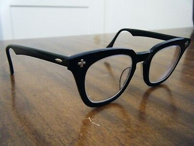 VINTAGE Bausch Lomb Safety Glasses 46/22 Horn Rim Black-Amazing Condition-