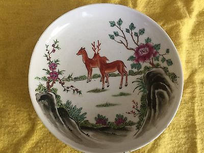 Early 20th C' Perfect Antique Chinese Deers Plate Signed