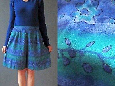 80s Katies Cobalt Blue Sea Green Viscose Shorts Sm Buy 3+ items for FREE Postage