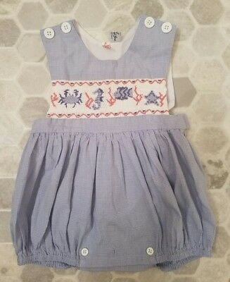 ORIENT EXPRESSED Bubble Romper Nautical Seahorse Crabs Smocked Sz Small (6 - 12)