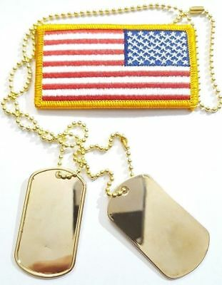 BLANK Gold Military Army Blank Dog Tags Set & Gold 1-Long & 1-Short Ball Chains