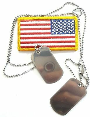 BLANK Stainless Shinny Military Army Dog Tags Set & 1-Long & 1-Short Ball Chains