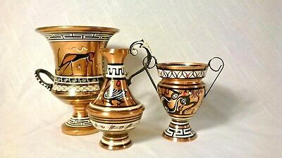 VINTAGE Copper Hand Painted Urn/Pitcher/Vase MADE IN GREECE (3)