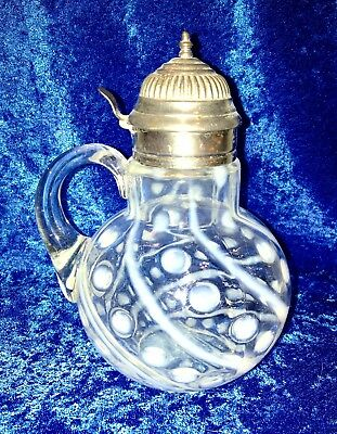 Antique Northwood Graduated Coinspot Swirl Opalescent Clear Glass Syrup Pitcher