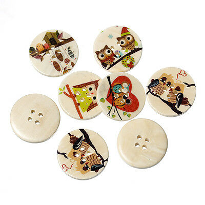 10 Assorted Colourful Wooden Owl Design Buttons, 30mm. 3cm