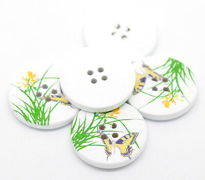 10 Delicate Yellow Butterfly Flower 4 Holes Wooden Painted Sewing Buttons 30mm
