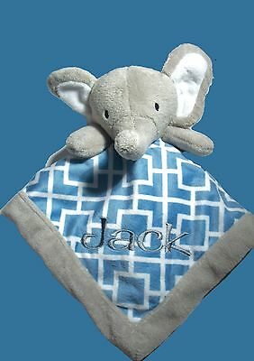 Personalised Baby Cuddle Blanket Security Blankie Gift  Elephant 30cm x 30cm