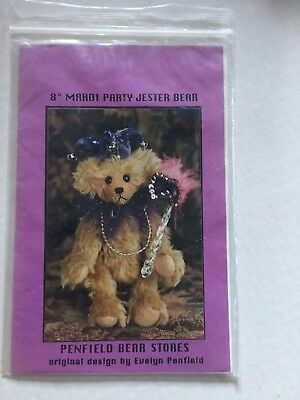 "Teddy Bear pattern - Mardi - pattern & instructions for a 8"" party jester bear"