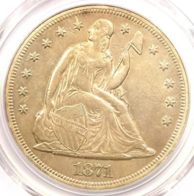 1871 Seated Liberty Silver Dollar $1 - PCGS AU Details - Rare Early Date Coin!
