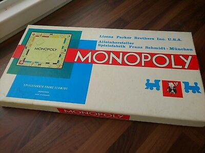 Vintage German Edition Monopoly Game 1960's Wooden Pieces In Very Good Condition
